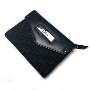 Dior black canvas and leather logo wallet